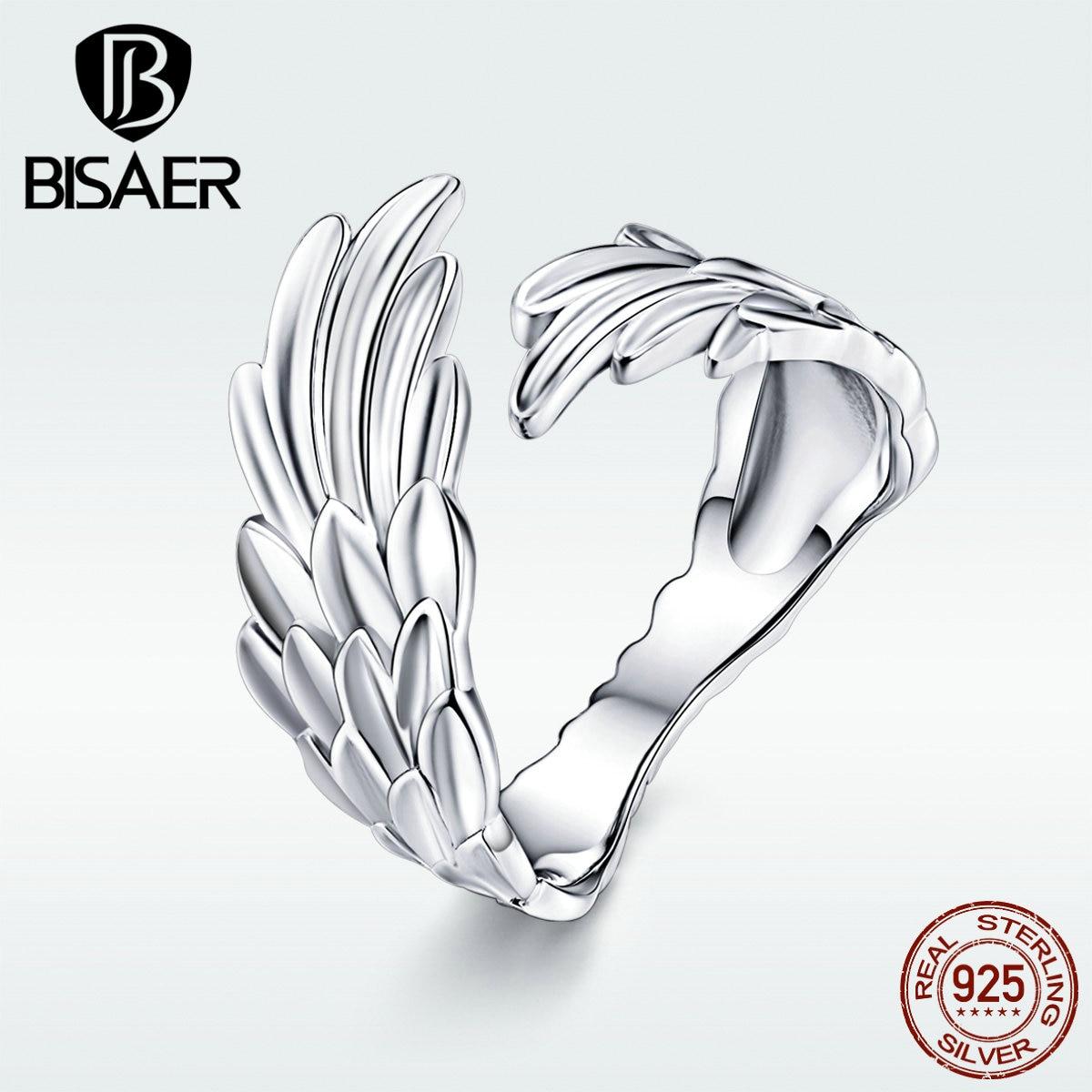 BISAER, nuevo, Plata de Ley 925, Super alas de Ángel, anillos abiertos para mujer, joyería de moda, regalos, bandas de boda a la moda, anillos GXR512
