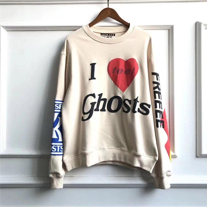 Sudadera con capucha de Kanye West 20ss para niños con fantasmas, parche fantasma para hombres y mujeres, ropa de calle CPFM, sudaderas de Kanye West, sudadera blanca a la moda