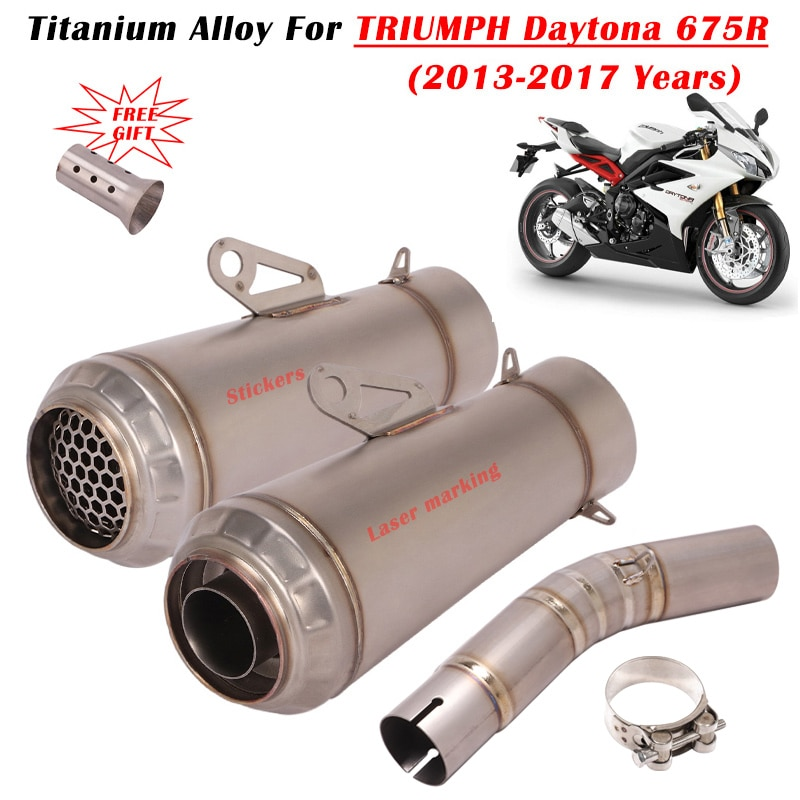For TRIUMPH Daytona 675R 13 14 15 16 17 Motorcycle Exhaust Escape System Titanium Alloy Modify Muffler Side Row Middle Link Pipe