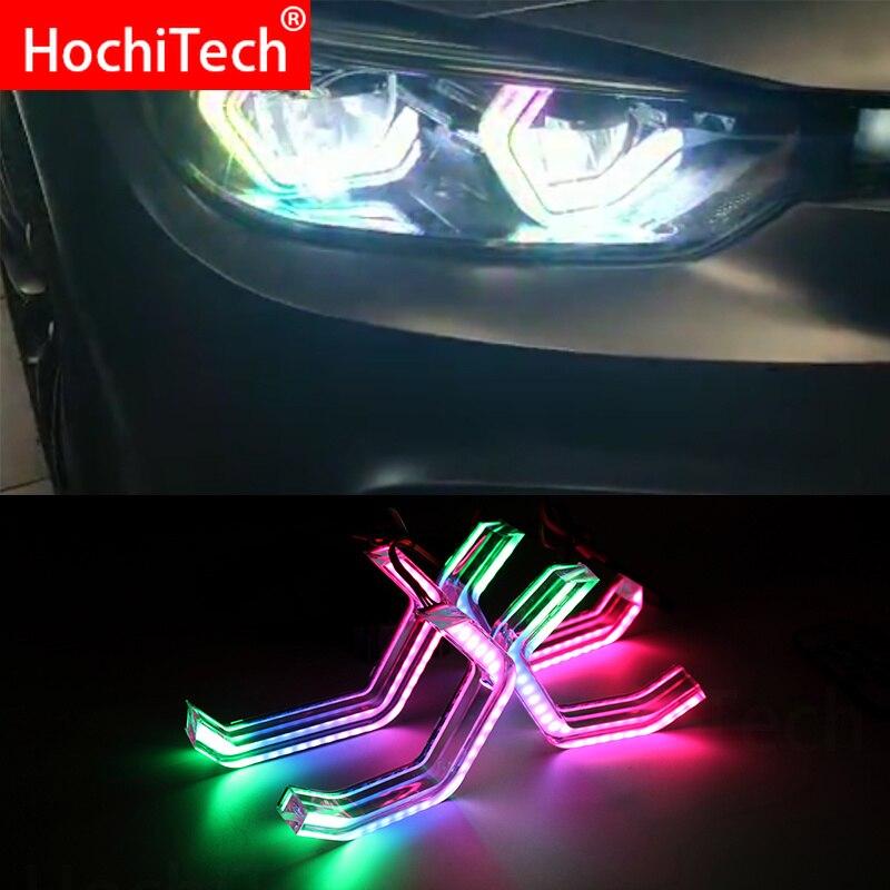 RGBW متعدد الألوان الأيقونية M4 نمط كريستال طقم عيون الملاك ضوء النهار DRL لسيارات BMW 3 series F30 2013-2017 مع التحكم في بلوتوث