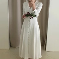 elegant women white party split fairy office lady long sleeve designer korean style autumn