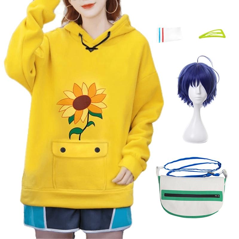 Anime Wonder Egg Priority Ohto Ai Cosplay Costumes Hoodie Pullover Yellow Sweatshirt Shorts Wig Bag