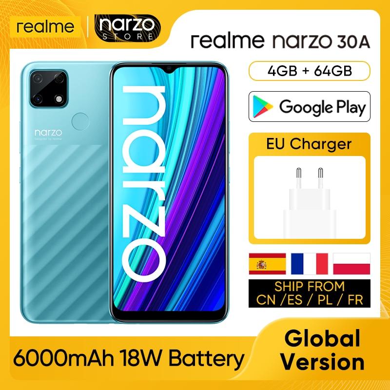 realme Narzo 30A RMX3171 Cellphone [Global Version] 4GB RAM 64GB ROM MTK Helio G85 6.5 inch 13MP AI Dual Camera 6000mAh 18W