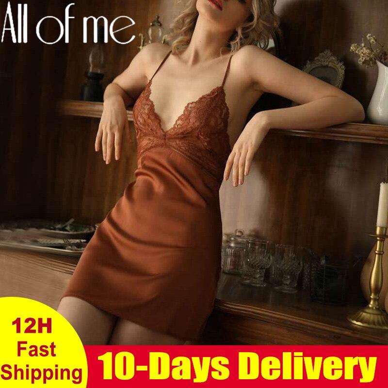 Пикантная ночная рубашка кружевная женская ночная рубашка нижнее белье с открытой спиной кружевная v-образная Пижама имитация ледяного шелка Ночная Рубашка домашняя одежда для женщин   Женская одежда   АлиЭкспресс