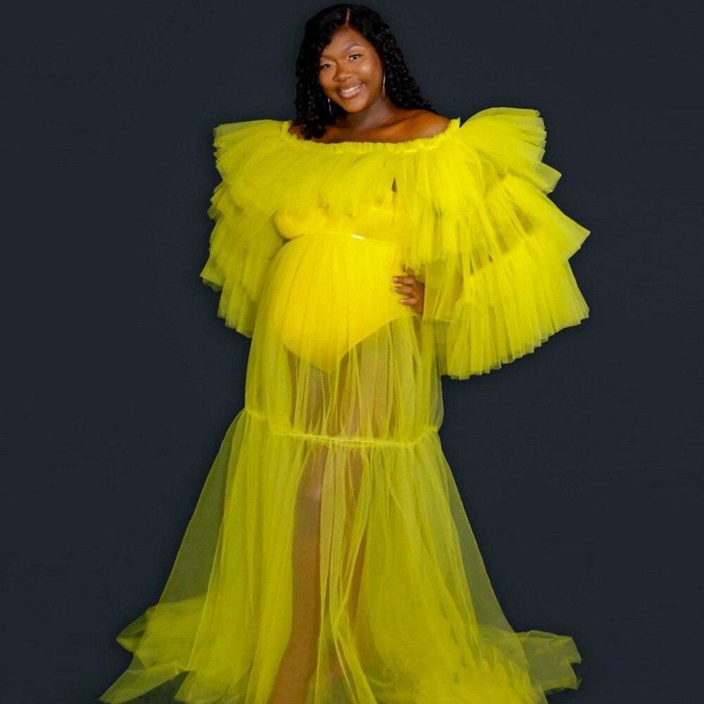 فستان حفلة تول للنساء ، ملابس للحفلات ، اكمام طويلة ، واسع ، مقاس كبير ، أصفر ، شفاف