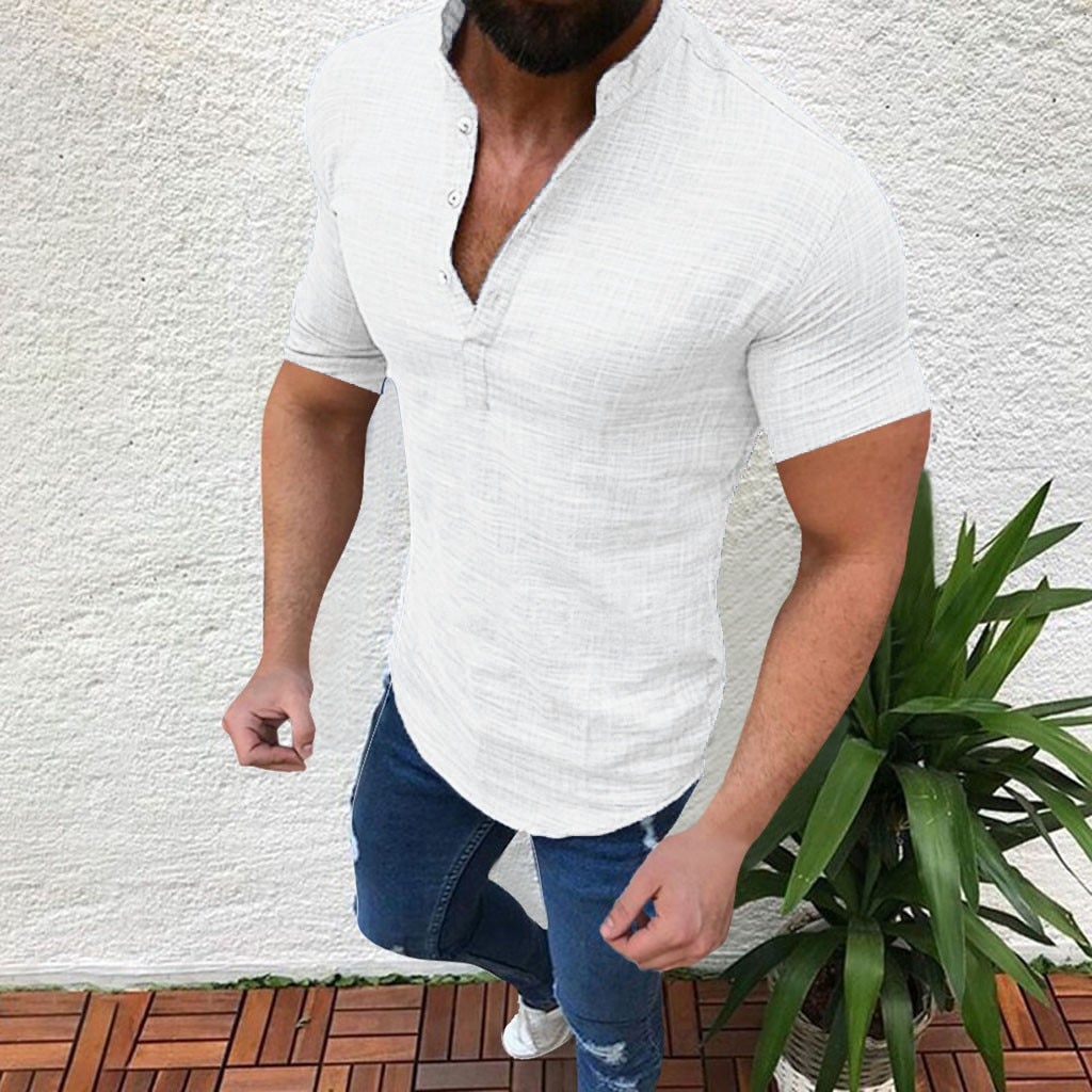 De los hombres de verano camisa blusa top de algodón ropa Casual camiseta sencilla para hombre manga corta blusa botón suelto hombres camisa blusa top s