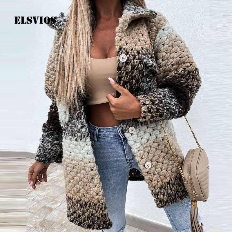 Женские винтажные окрашенные куртки, осенне-зимние Модные приталенные пальто с принтом женской модели, отложным воротником, пуговицами и карманами