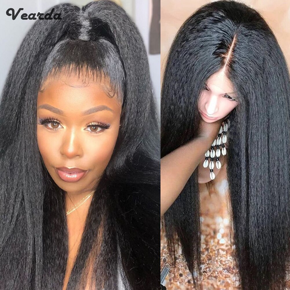 Vearda Long Kinky Straight Wigs for Women High Temperature Fiber Synthetic Lace Front Wig Middle Part Black Lace Wigs Daily Used