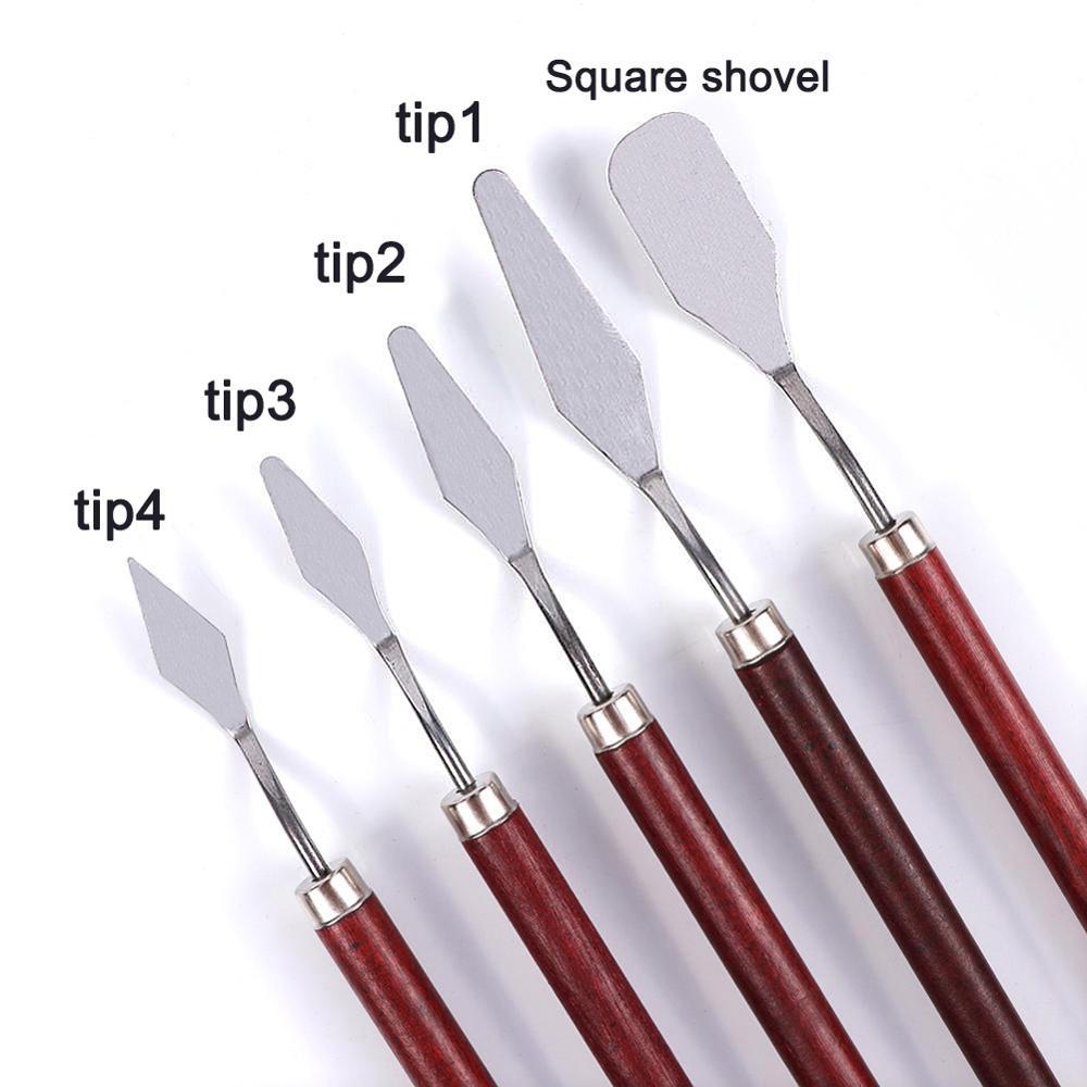 Купить с кэшбэком 5pcs Stainless Steel and Wood Palette Knife Multi-Functional Painting Knife Set Wood Palette Knife Arts Oil Painting Tool