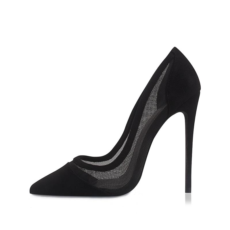 Туфли-лодочки женские на высоком каблуке, пикантная Дизайнерская обувь, туфли-лодочки на шпильке, черные вечерние туфли-лодочки, большие ра...