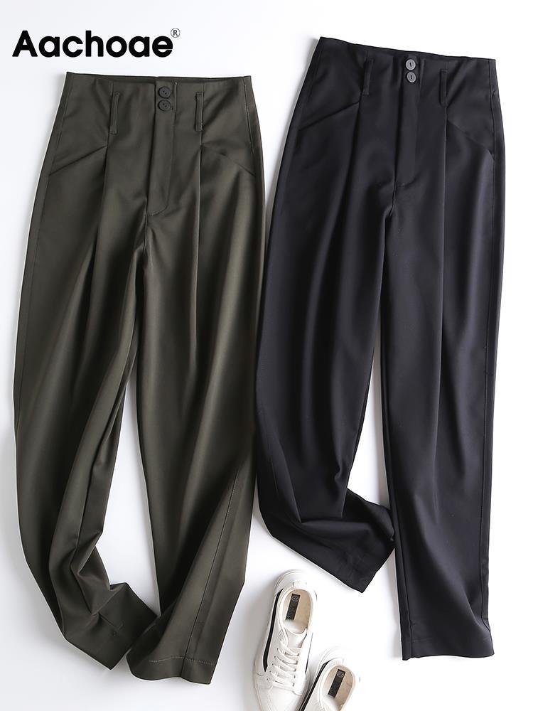 Женские однотонные длинные брюки Aachoae, длинные плиссированные брюки с высокой талией, на молнии, модные повседневные длинные брюки для женщ...