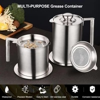 1 6l stainless steel oil strainer pot container jug storage can with dust proof lid filter cooking oil pot for kitchen household