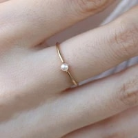 2020 new luxury elegant line fashion wild inlaid pearl ring simple ring womens 14k gold jewelry