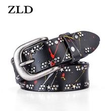 ZLD Fashion genuine leather Women belt vintage pin buckle Strap rivet mosaic belts personality jeans