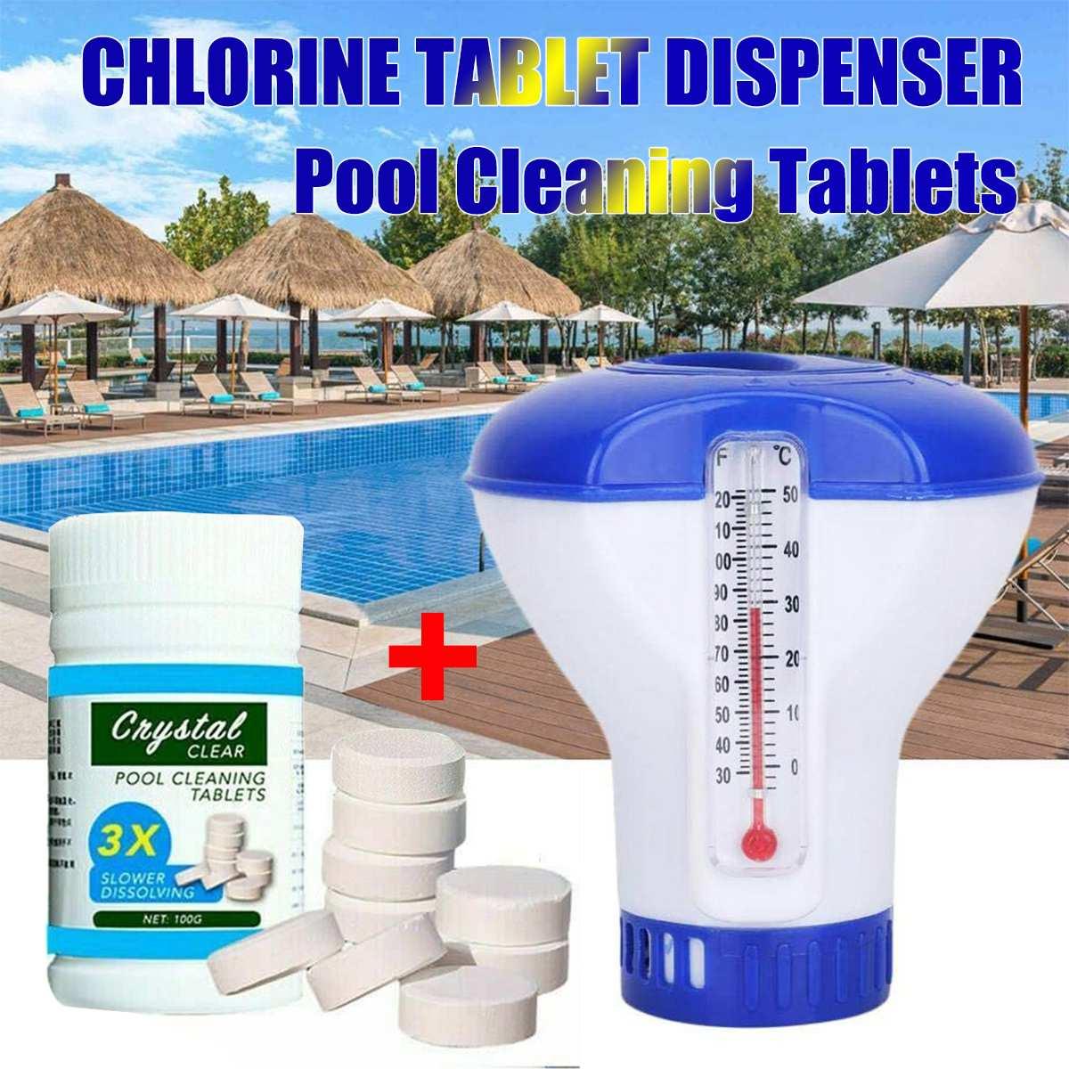 100 adet havuz temizleme efervesan klor tabletleri w dağıtıcı Crystal Clear kafes dezenfekte yüzme havuzu köpük temizleyici