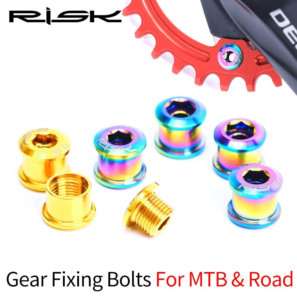 Tornillos de fijación de engranajes de 6,5mm de bicicleta de riesgo para MTB Mountain & BMX, tornillos fijos para rueda dentada XT