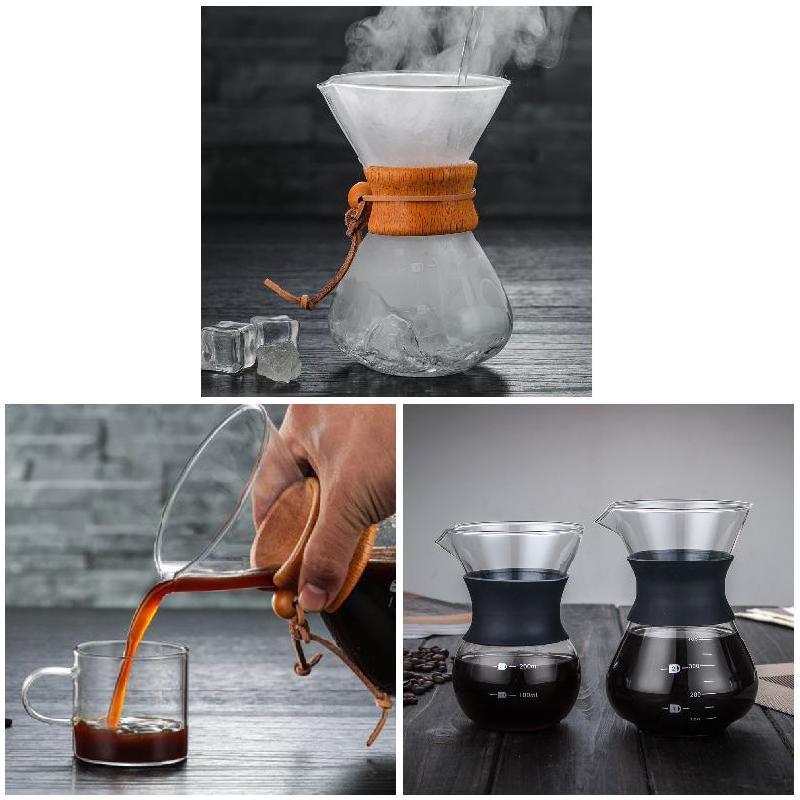 Cafeteira com vidro de borossilicato, produtor manual de café
