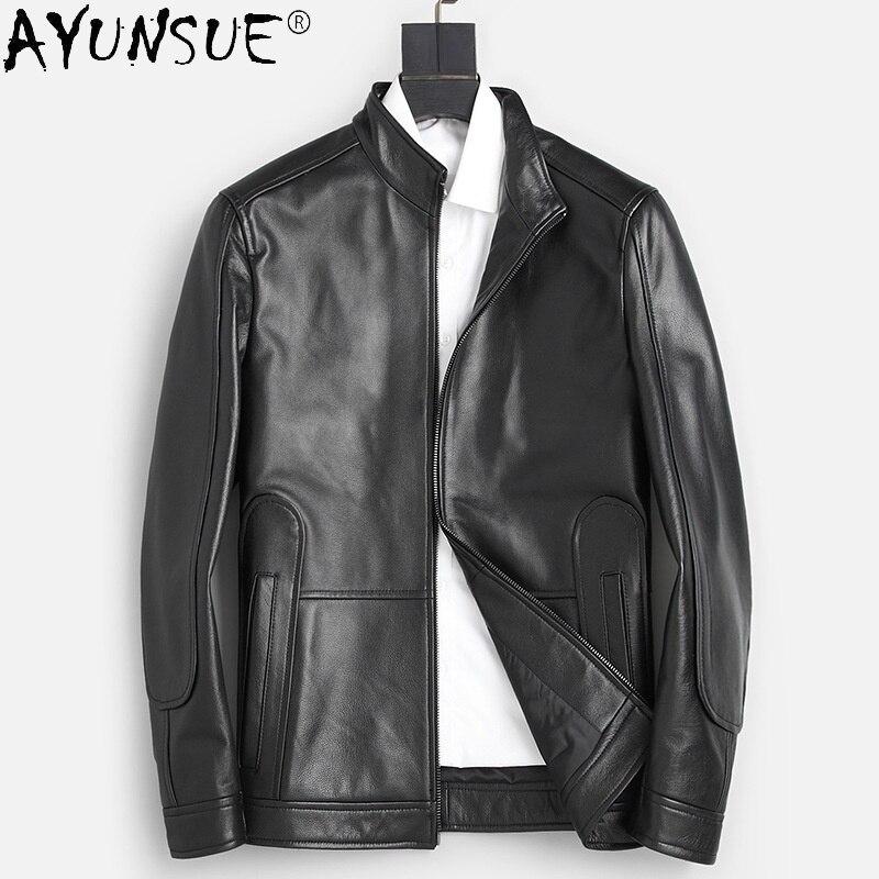 Ayunsu الخريف جلد البقر الحقيقي سترات من الجلد الرجال المعاطف الجلدية السوداء الرجال دراجة نارية الكورية ملابس خارجية Casaco Masculino SQQ298