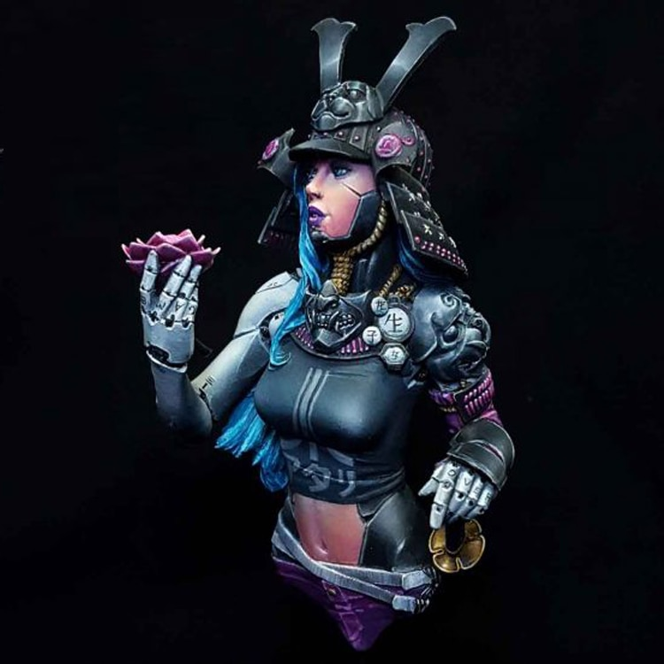 Conjunto de resina de 1/10, busto de personaje de mujer guerrera punk, diy, modelo tamiya, kit de juguete para hombre, partes de warhammer Samurai