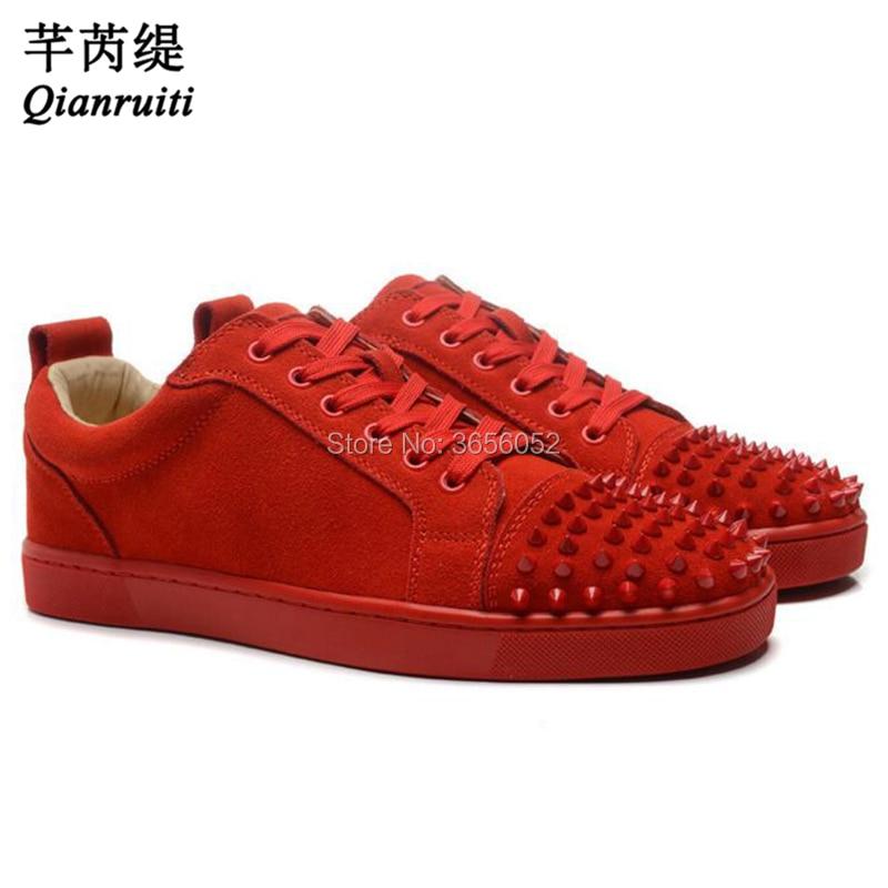 Qianruiti-حذاء رياضي من الجلد المدبوغ ، حذاء رياضي عصري كبير الحجم 47 ، أسود ، أبيض ، أحمر ، أزرق ، جلد سويدي ، برشام متقاطع ، حذاء رياضي للسباق