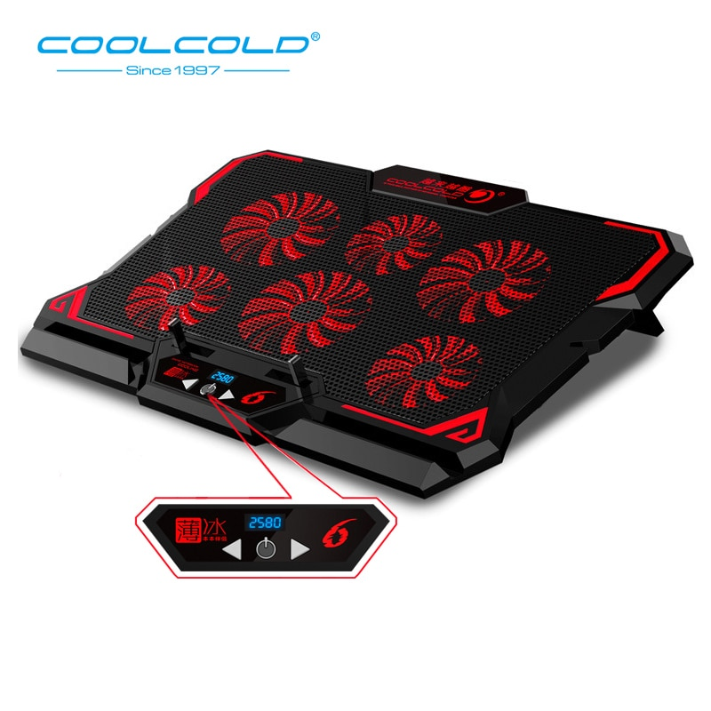 COOLCOLD-مبرد كمبيوتر محمول ، منفذين USB ، ستة مراوح تبريد ، وسادة تبريد للكمبيوتر المحمول ، حامل كمبيوتر محمول من 12 إلى 15.6 بوصة