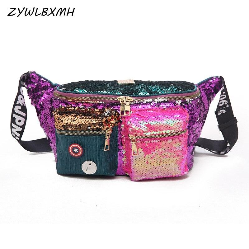 ZYWLBXMH Sequins Waist Pack Banana Bag Woman Waist Bag Large Capacity Belt Bag Female Bag Multi-pocket Fanny Pack riñoneras