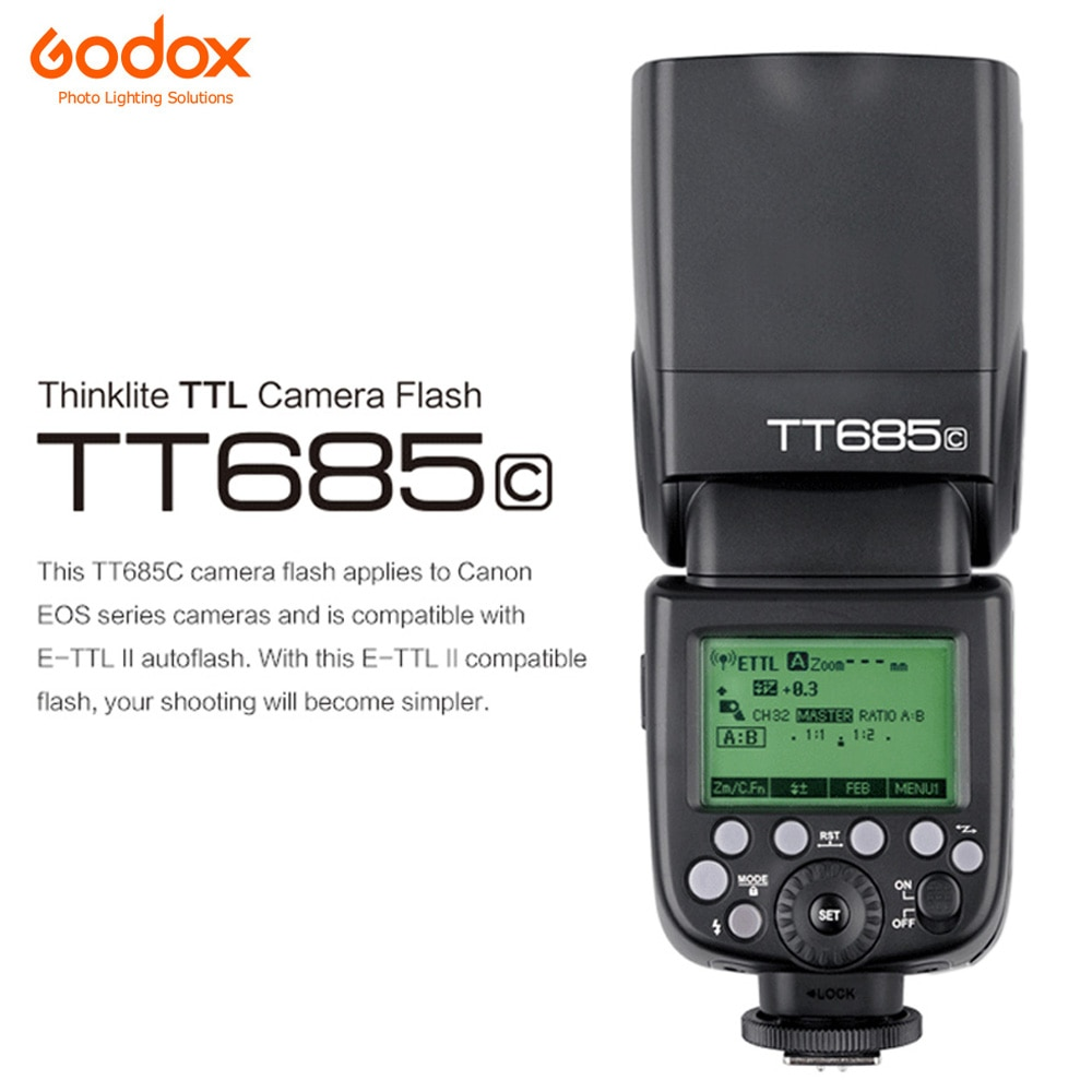 Godox TT685C GN60 2,4G Flash Speedlite alta velocidad sincronización TTL externo para Canon 1100D 1000D 7D 6D 60D 50D 600D 500D
