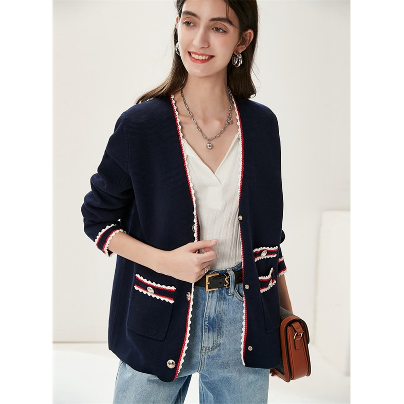Cardigan Women 100% Cotton Knitted Elegant Design V Neck Long Sleeves Spliced Pockets High Quality Casual Style New Fashion