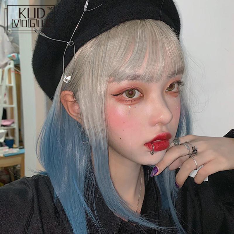 Peruca de cabelo sintético, azul cinza com gradiente de cor com bob, franja para cosplay lolita, resistente ao calor 42cm