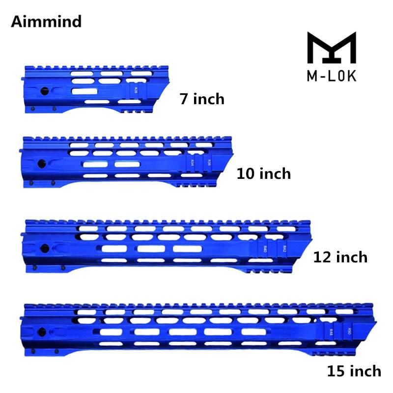 m4 m16 free float quad rail ar 15 tactical handguard picatinny quad rail mount for m4 m16 10 12 15 inch New Blue 7/10/12/15 Inch AEG M4 M16 AR15 Free Float M-Lock Quad Rail Handguard Picatinny Rail with Barrel Nut for Hunting