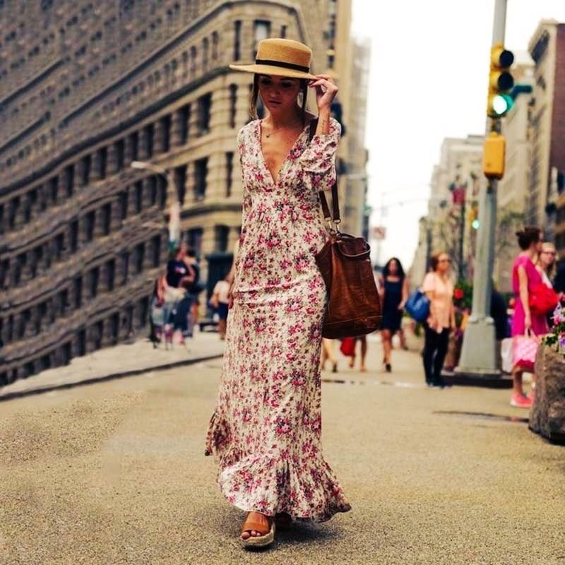 2021 Swing Dresses Women Casual Printed Womens Long Dress Lantern Sleeve Birthday for Elegant Summer Woman