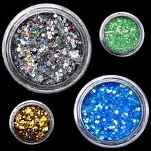 1pcs AB Nail Sequins Flakes Star Moon Heart Nail Gel Round Nail Glitter Holographic Pigment Nail Art Decoration m3a506