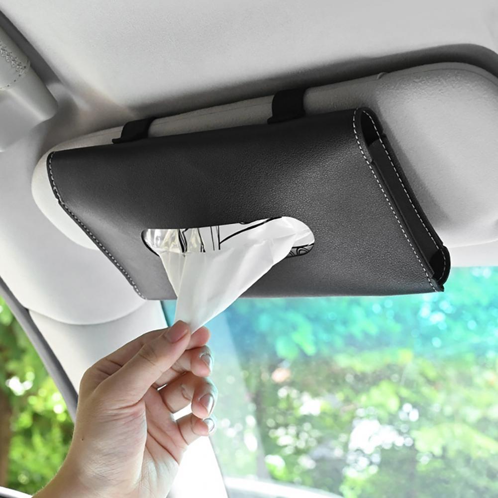 Автомобильный держатель для салфеток на солнцезащитный козырек, подлокотник из искусственной кожи, коробка для салфеток, держатель для сал...