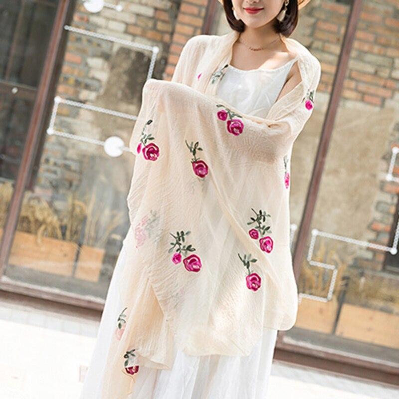 Bufanda Multicolor de chifón largo con estampado de flor de melocotón para mujer