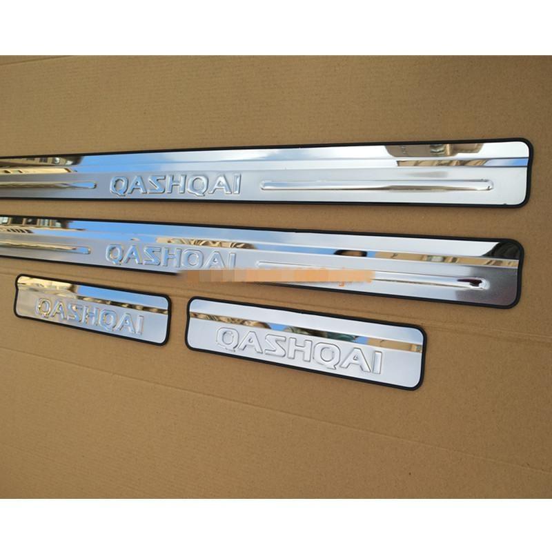 Cinta de alféizar de puerta de acero inoxidable, accesorios de estilismo para el coche, moldura de pedal de bienvenida para Nissan QASHQAI J10 2007 -2013, estilismo para el coche