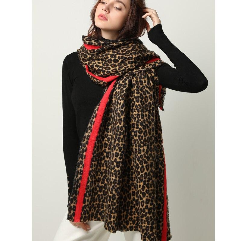 Écharpe en cachemire pour femmes, écharpe à la mode, imprimé léopard, châle épais et doux, écharpe chaude dhiver, couverture