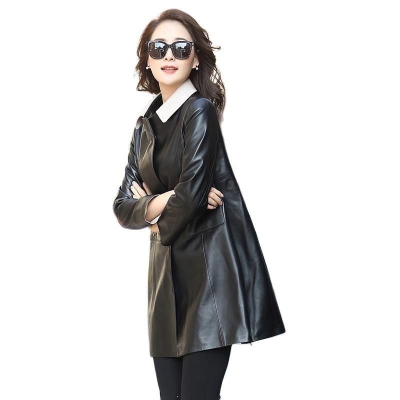 202genuine leather coat women's large size coat women sheepskin jackets leather clothes for women real sheepskin jacket women