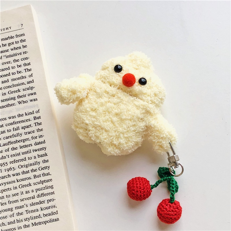Winter Plush Bear Cherry Chick Bluetooth Wireless Headset Set Soft Cover for Airpods 1/2 Earphone Protective Shockproof Case enlarge