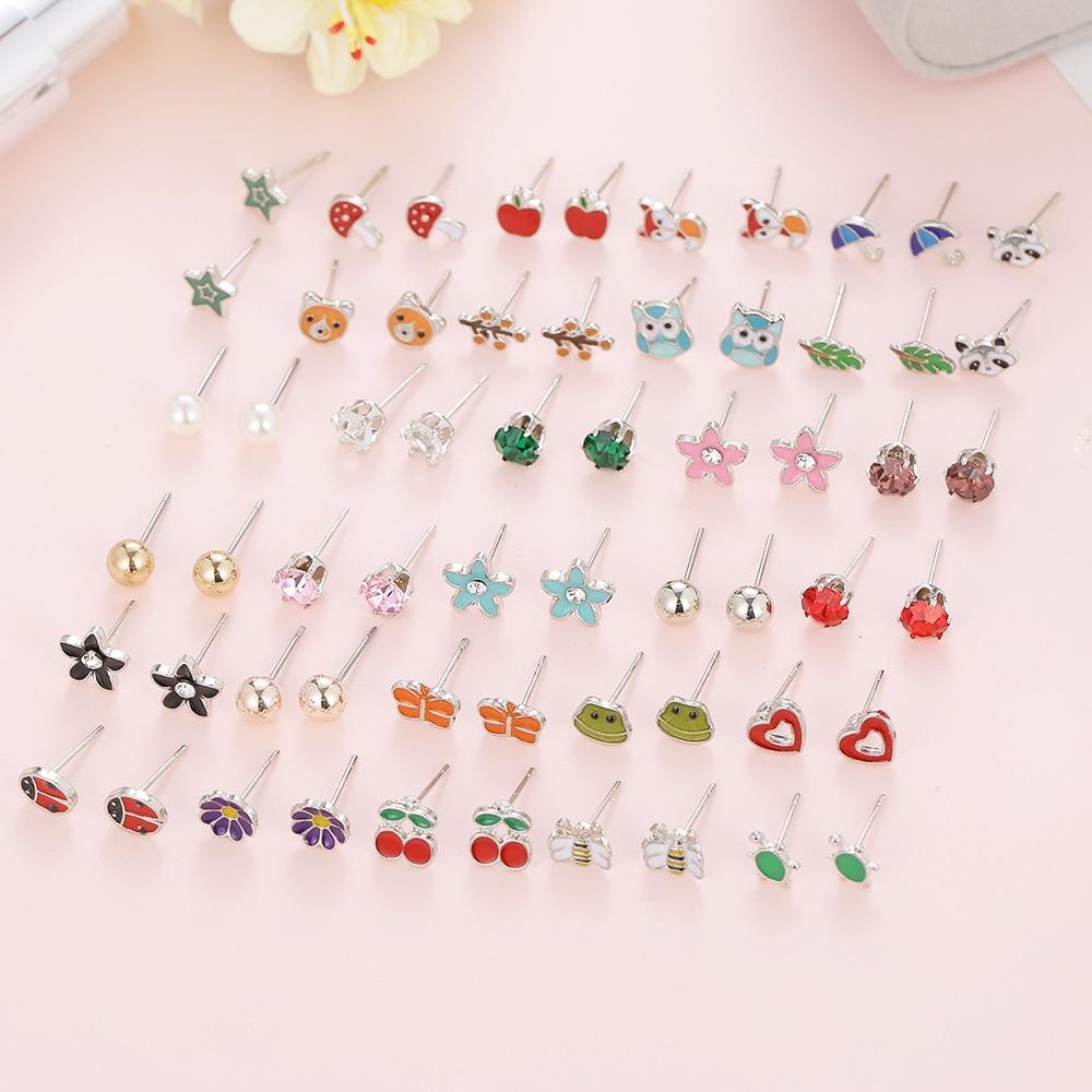 30 unids/set de acero inoxidable pendientes de animales bonitos coloridos pendientes de setas de rana zorro para mujer joyería de boda regalo de cumpleaños