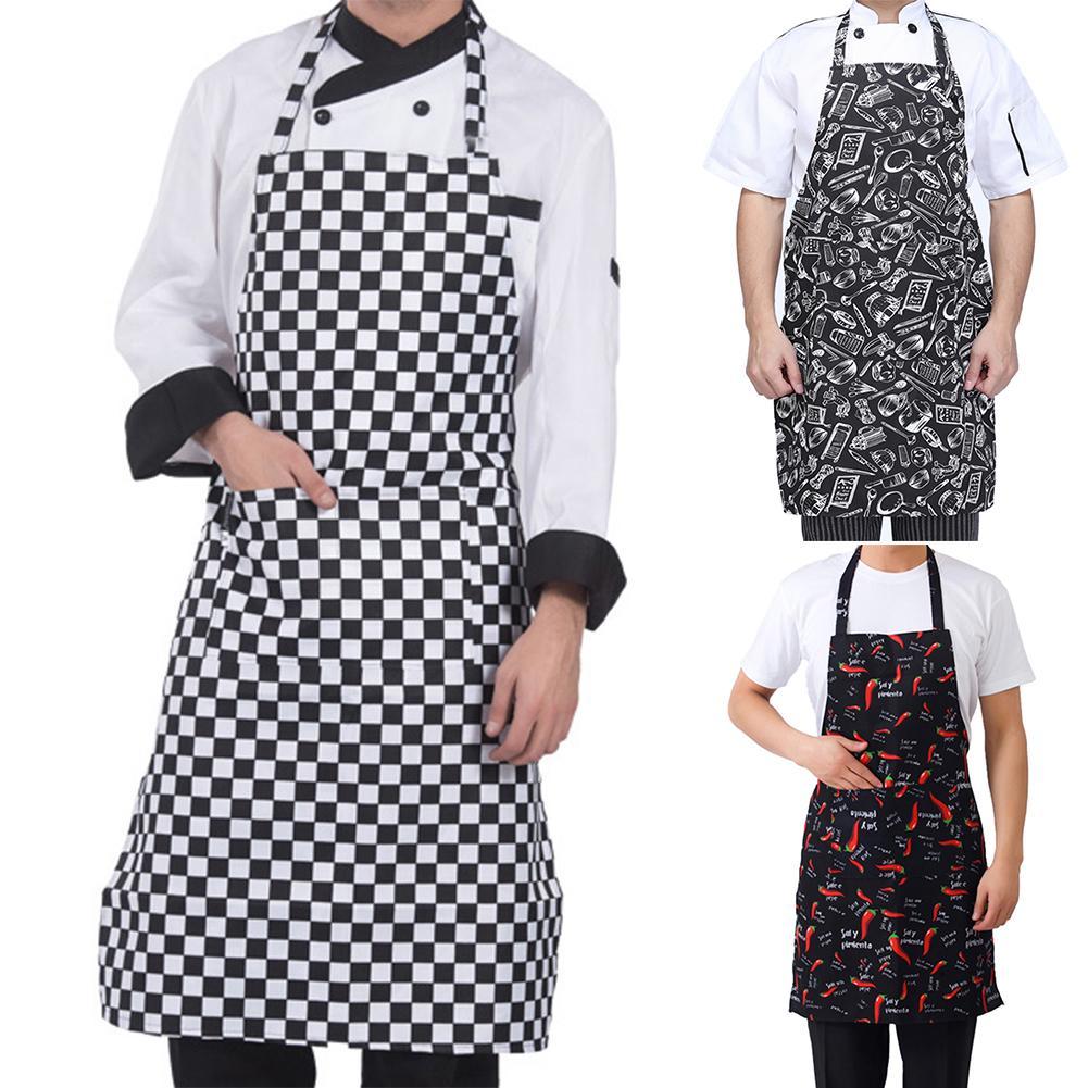 1PC Striped Plaid Long Fashion Man Women Waist Apron With Pocket Catering Chef Waiter Bar Kitchen Apron 70cm X 57cm