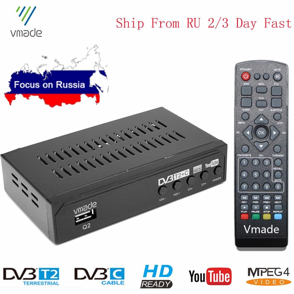 DVB-T2 DVB-C H.264 2 in 1 Combo TV Tuner DVB-T Digital TV Box Terrestrial Receiver HD Audio Decoder For Russian DVB T2 недорого