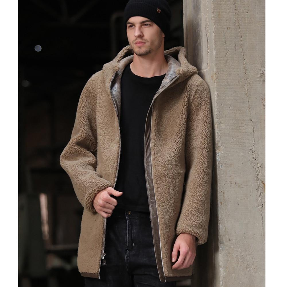 تعزيز الجانبين ارتداء طويلة الغنم الفراء Shearling البني 100% ريال الطبيعية الفراء معطف سميكة الدافئة الشتاء مقنعين الفراء الملابس