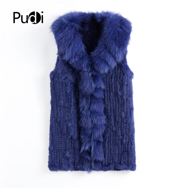 VT901 2020 otoño moda mujer auténtico Chaleco de piel de conejo con cuello de piel de zorro real largo señora casual abrigo