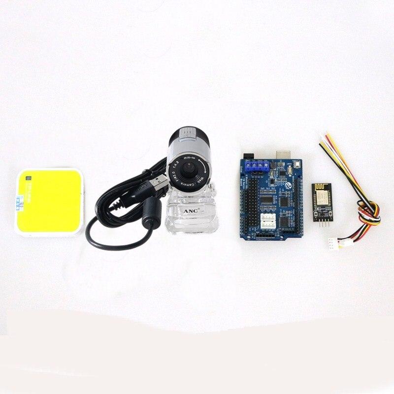 Nuevo Kit de control de vídeo RC 2/3/4wd con UNO + tarjeta de control para Motor + módulo WiFi + Cemera + Router para Arduino Smart Robot Tank, coche DIY