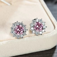 luxury full diamond sunflower stud earrings for women sparkling white gold pink royal blue emerald gemstone earrings jewelry