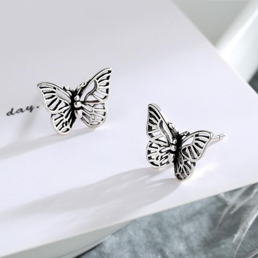 Jisensp exquisita estética mariposa Stud pendientes de Color plateado pendiente para las mujeres regalo de Navidad bijoux Corea joyería de fiesta