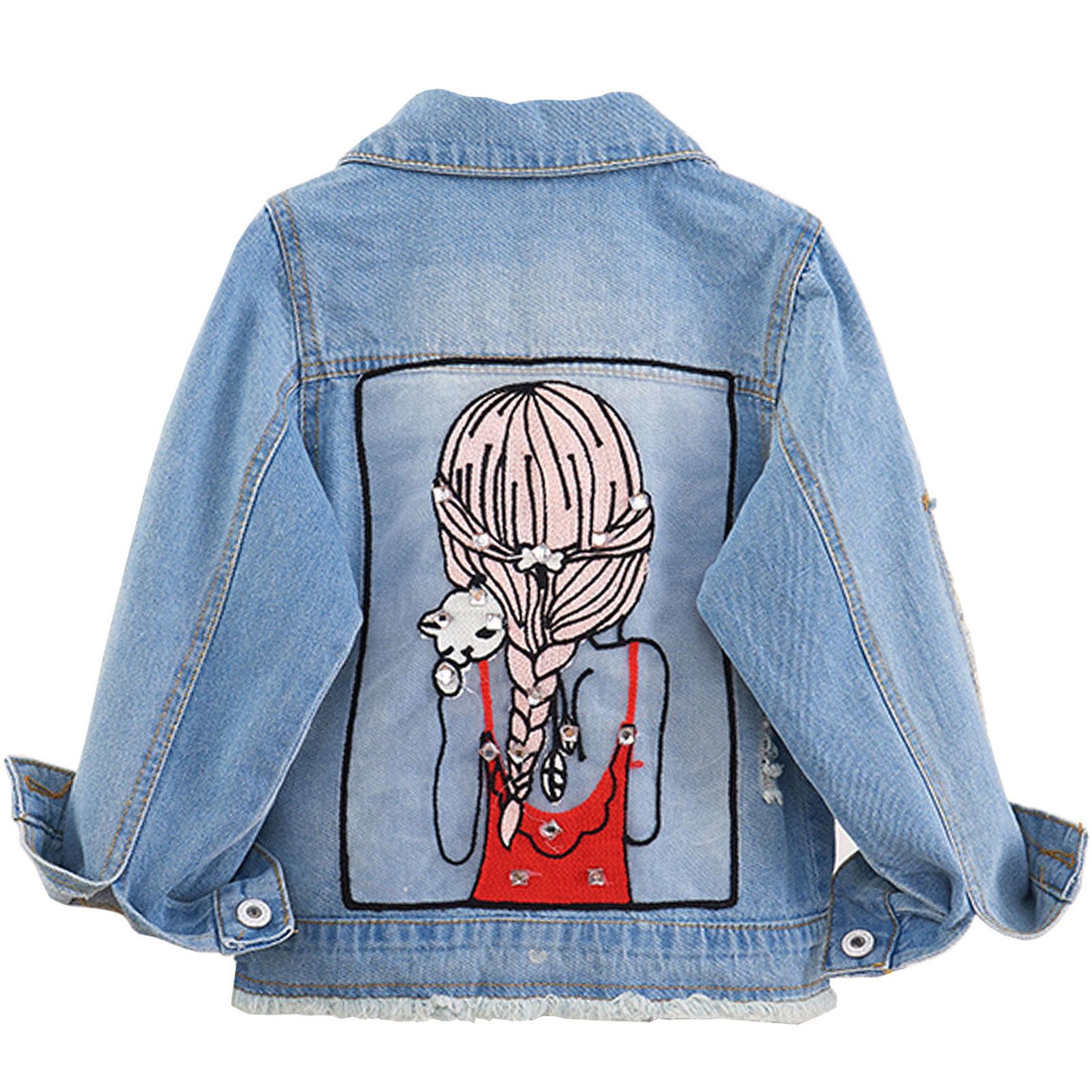 Girls Denim Jacket Unique Sequin Cute Girls Back Decal Lapel Multi-Pocket Cowboy Coat 2-12T Tassels Overwear for Autumn Clothes