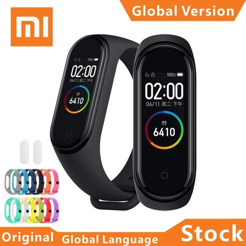 "Original Xiaomi banda 4 pulsera inteligente 0,96 ""AMOLED Color pantalla táctil con frecuencia cardíaca Fitness Wristband mi banda 4 MUNDIAL reloj inteligente"