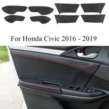 Accessoires pour Honda Civic 2019 2018 2017 2016   Panneaux de décoration intérieur de porte de voiture, étui en cuir, accoudoir de fenêtre, PU garniture, pour Honda Civic