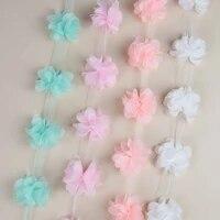 2yards width 2 5cm 3d flower head 4 5 5 5cm chiffon fabric lace ribbons diy wedding dress bridal trim home sewing supplies